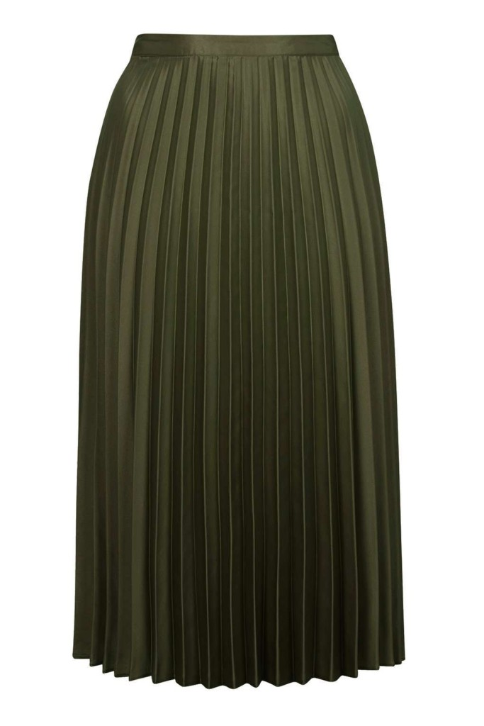 TOPSHOP PETITE Pleat Midi Skirt