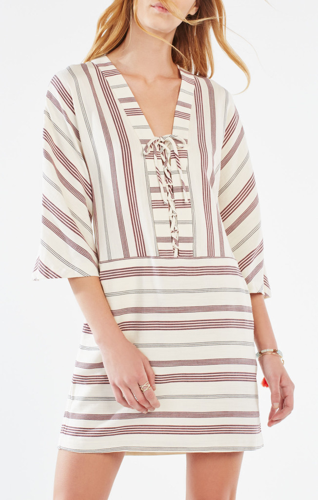 bcbg Milana Striped Lace-Up Tunic Dress