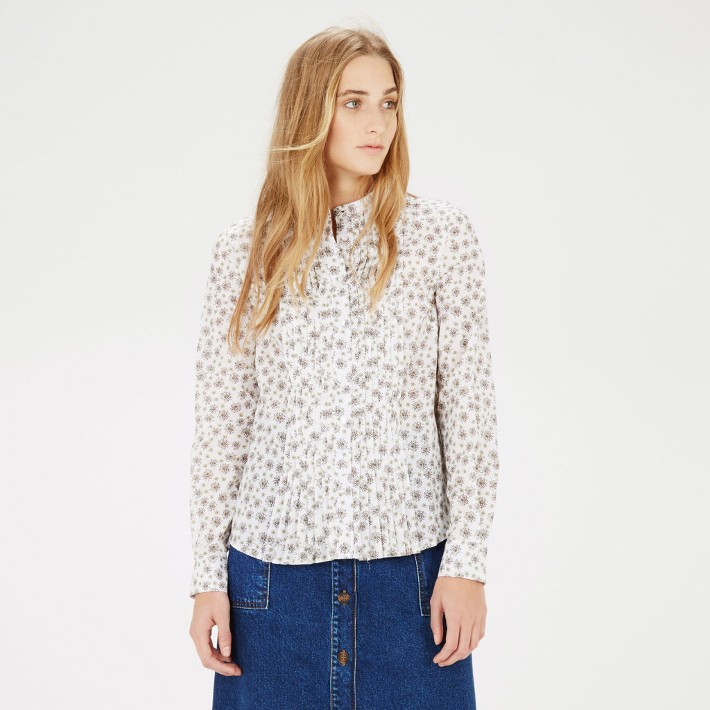 warehouse_dandelion pintuck blouse