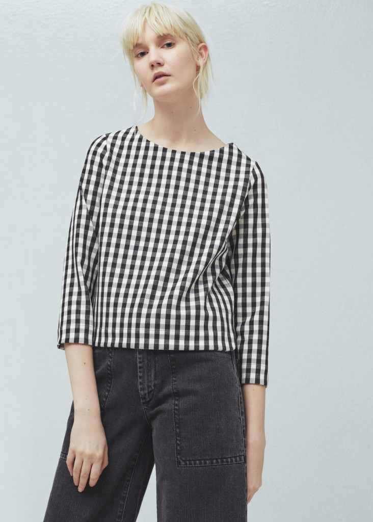 mango-check-pattern-blouse