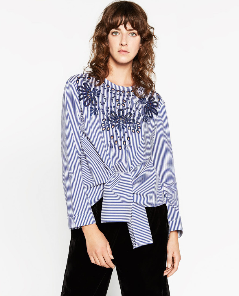 zara-striped-poplin-top-model