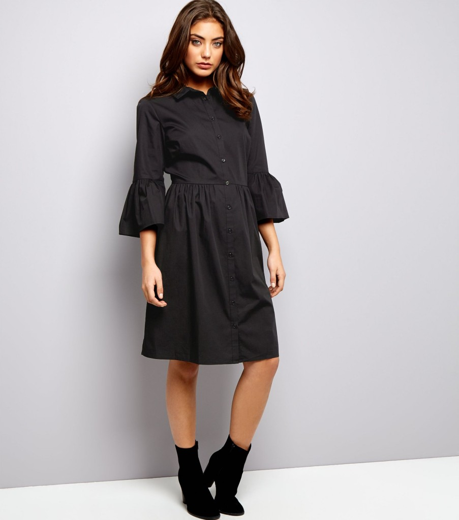 Black Bell Sleeve Cotton Shirt Dress
