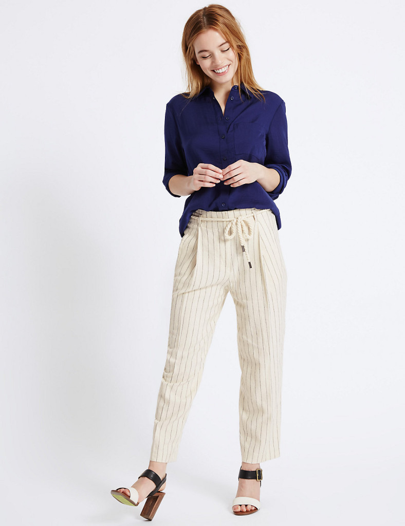 m&S-PETITE Linen Rich Tapered Leg Trousers | M&S