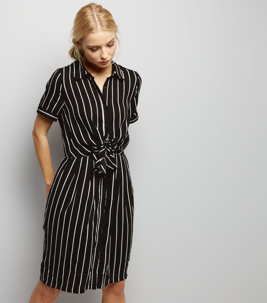 newlook-anita-and-green-black-stripe-tie-front-shirt-dress