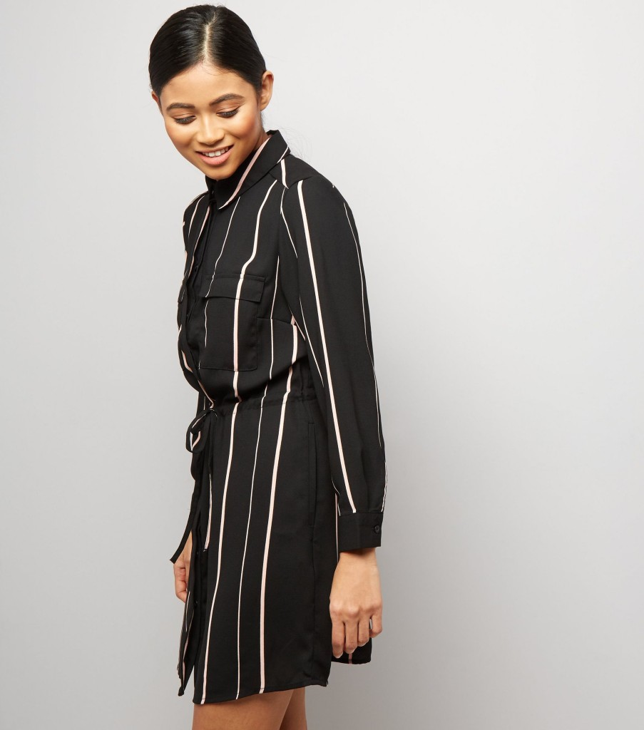 nl-petite-black-stripe-shirt-dress