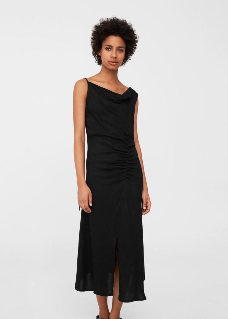 mango-ruched-detail-dress