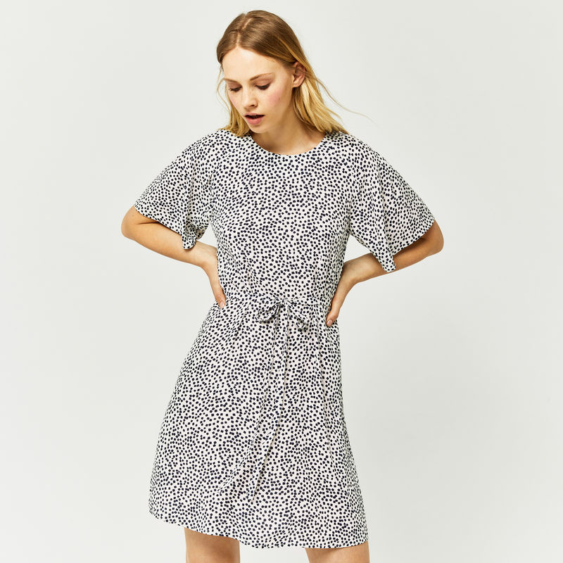 warehouse-mini-mono-flippy-dress