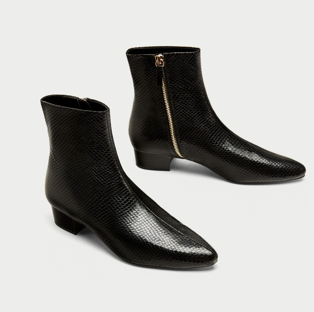 zara-flat-embossed-ankle-boots