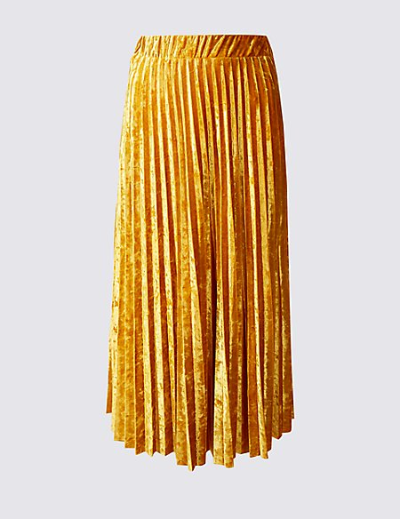 marks-and-spencer-velvet-pleated-skirt-gold