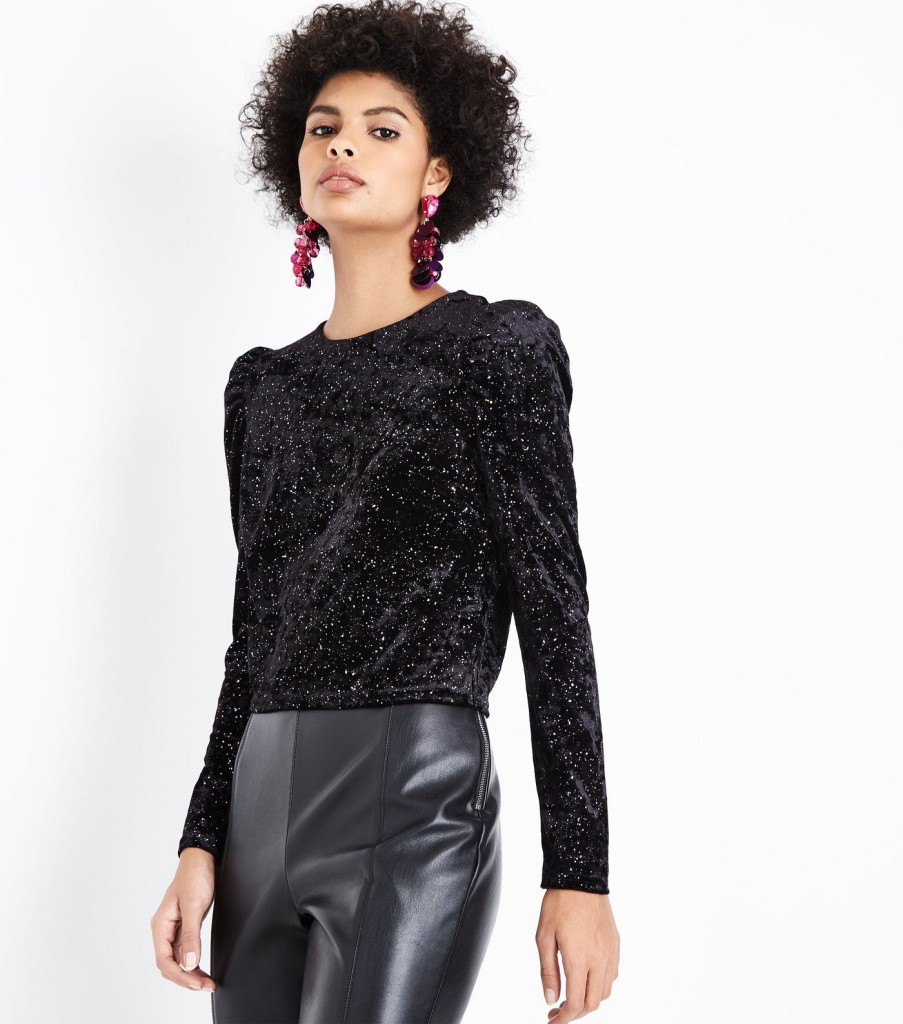 nl-black-glitter-velvet-puff-sleeve-top