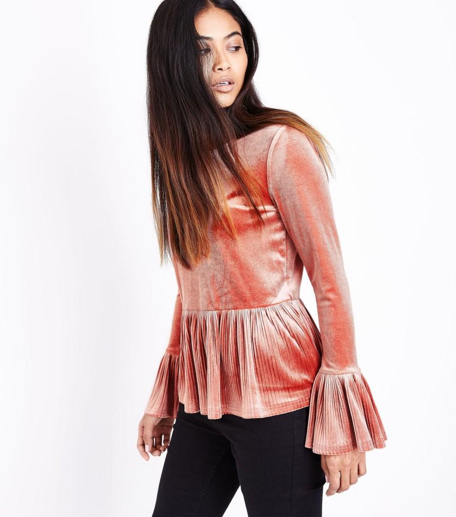 nl-petite-pink-velvet-plisse-trim-top