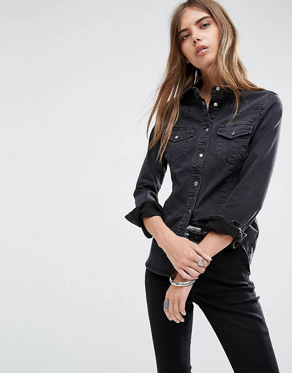 asos-denim-fitted-shirt