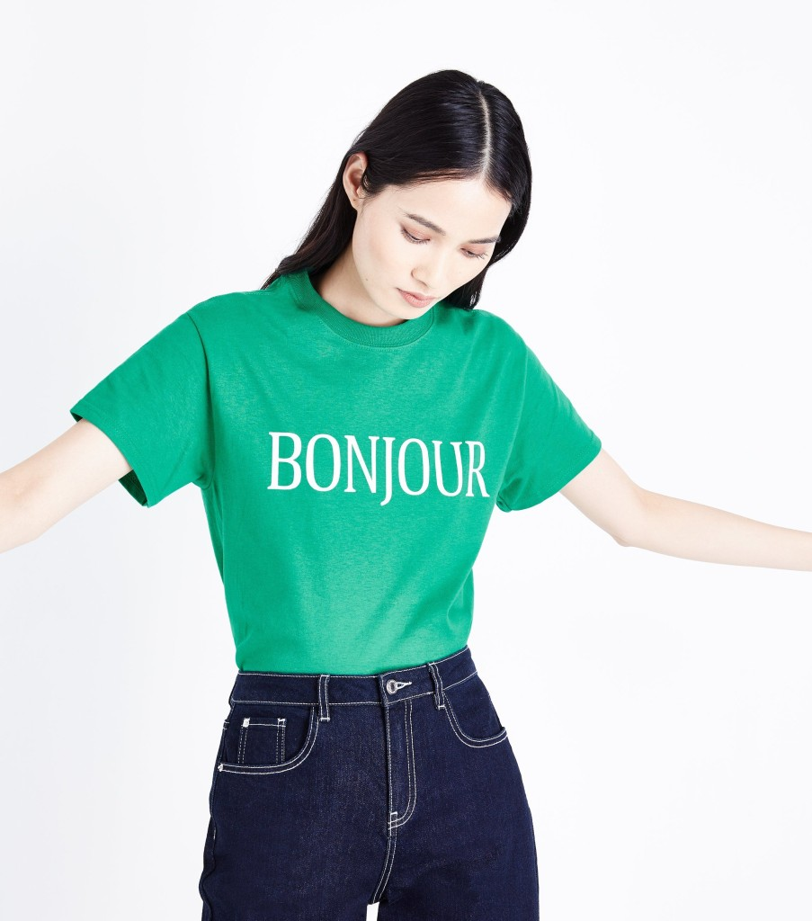 newlook-green-bonjour-slogan-t-shirt