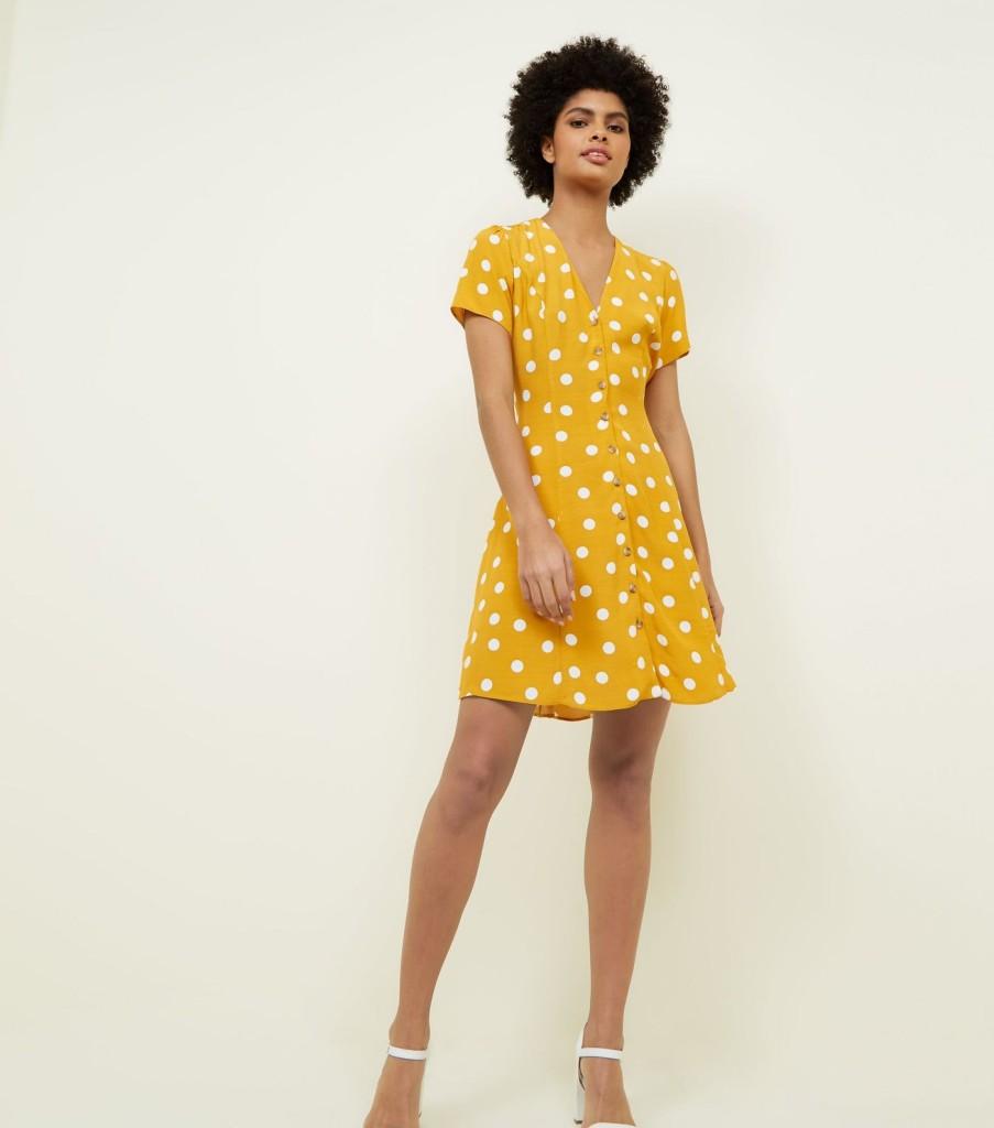 new-look-yellow-polka-dot-tea-dress-