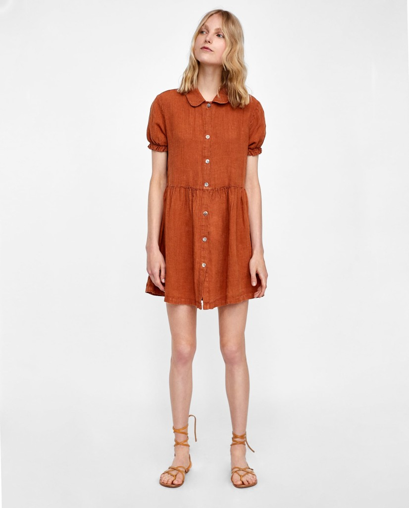 zara-short-sleeve-linen-dress