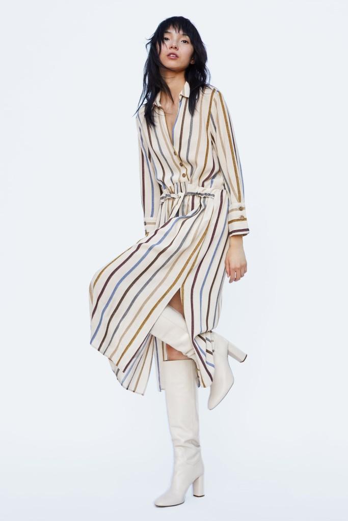 zara-striped-belted dress