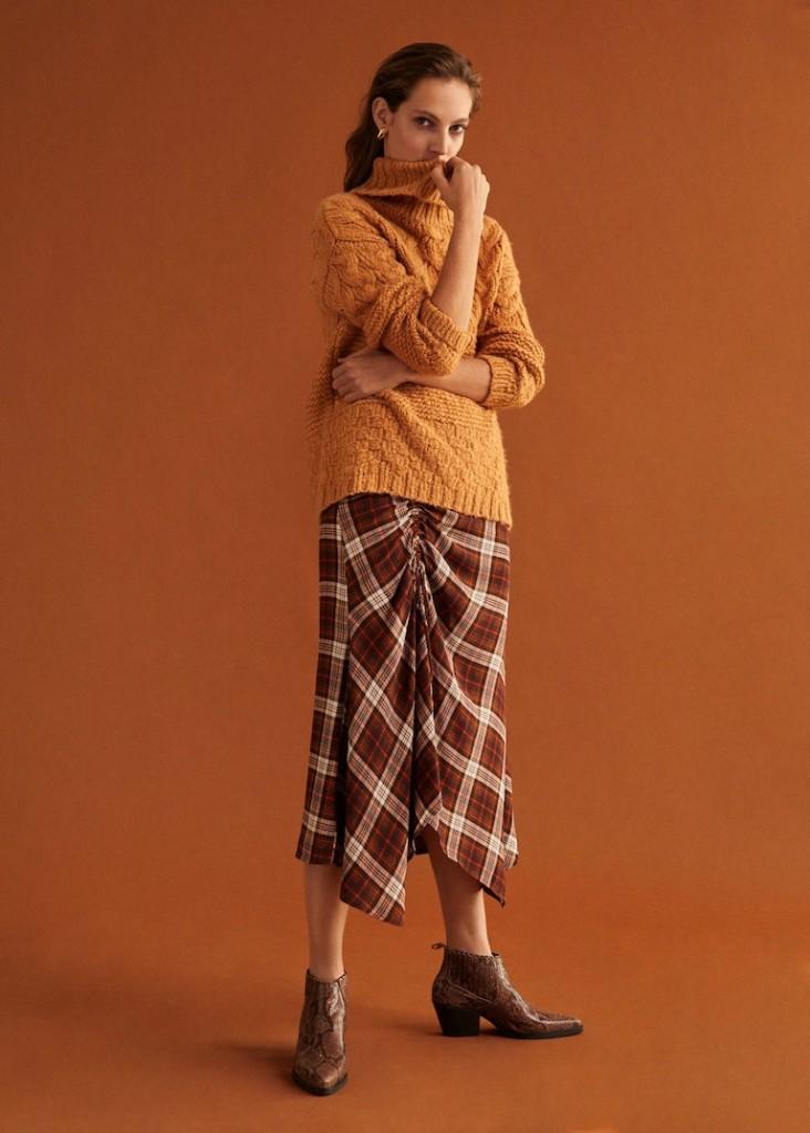 Mango-ruched-detail-skirt