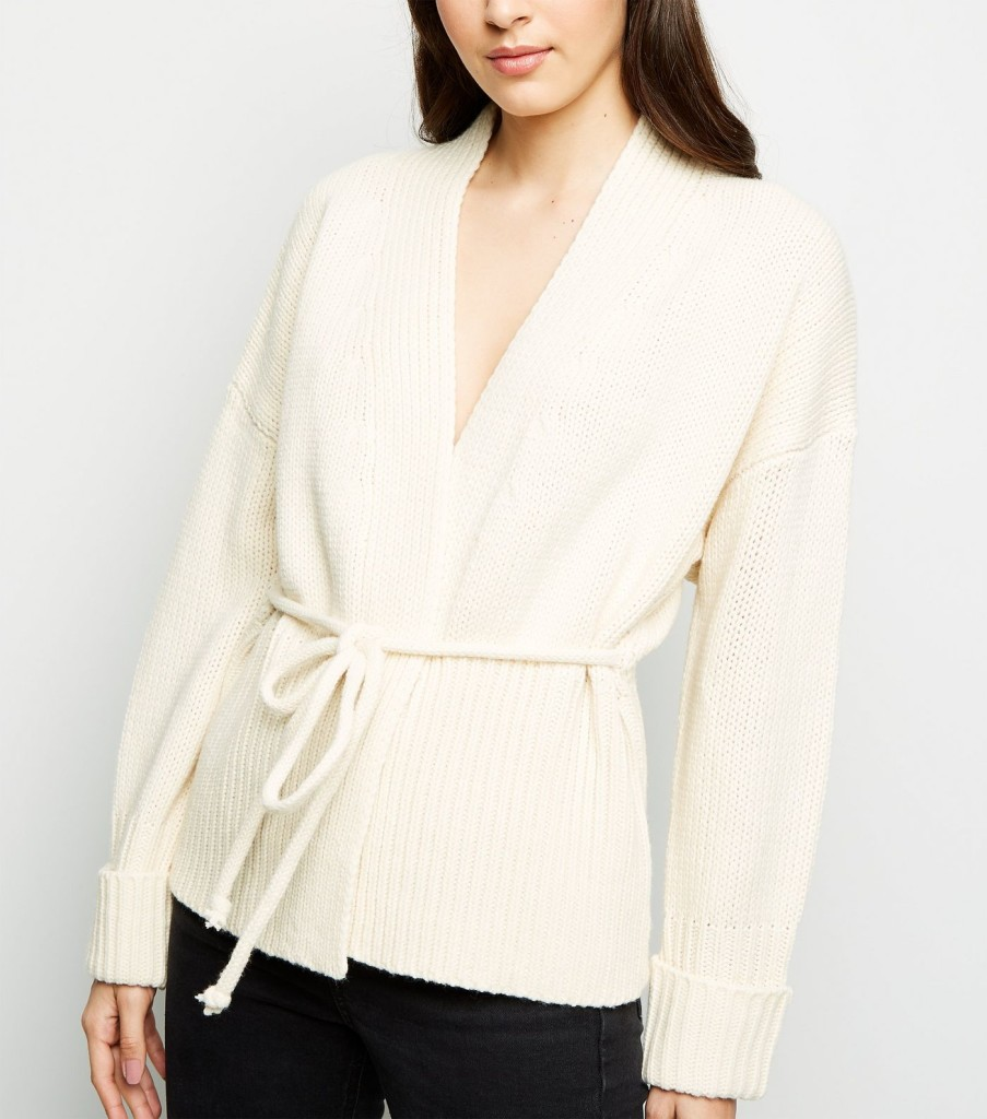 new-look-cream-tie-waist-wrap-cardigan