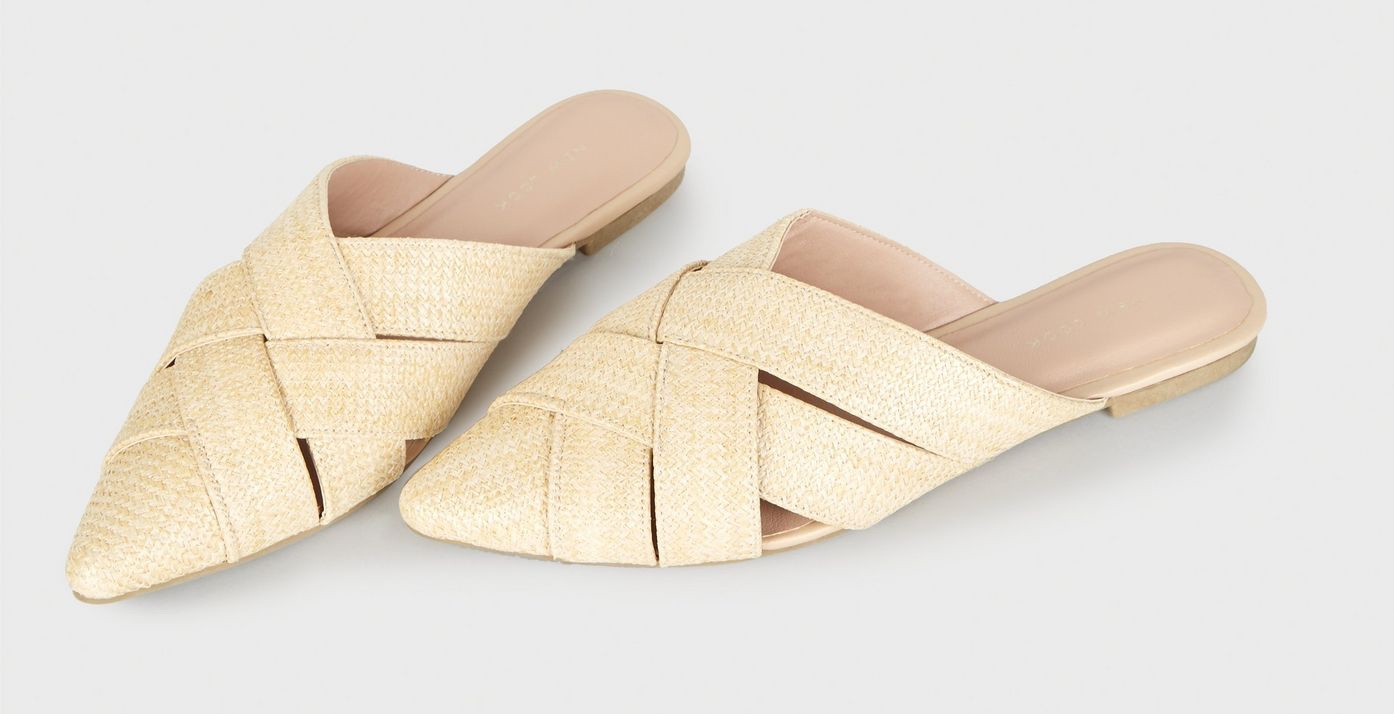 new-look-off-white-straw-effect-pointed-mules