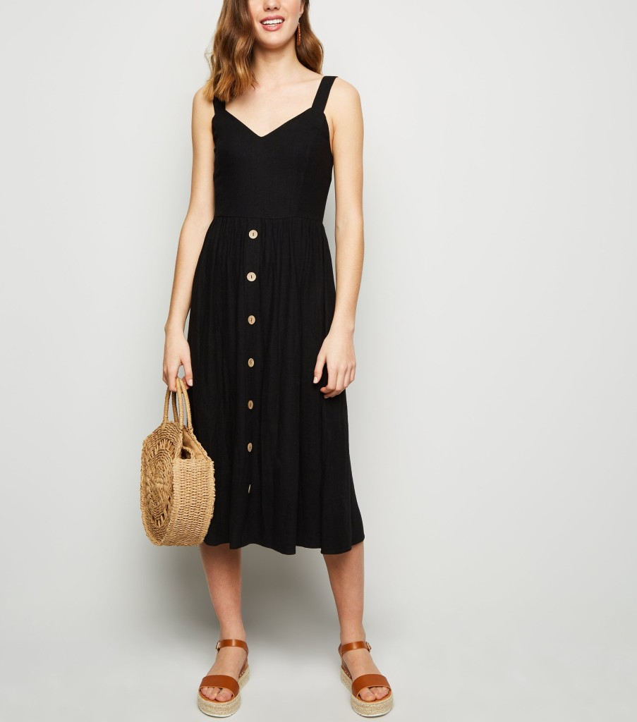 nl-black-linen-look-button-front-midi-dress