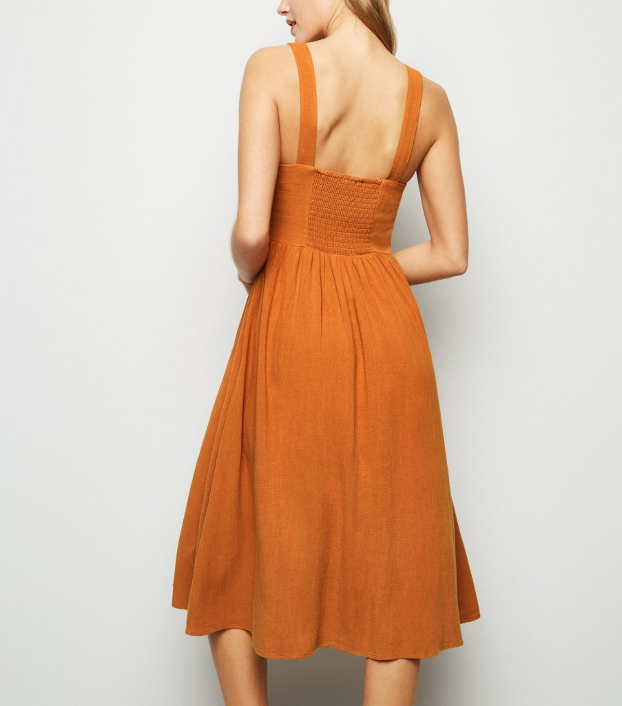nl-rust-linen-look-button-front-midi-dress