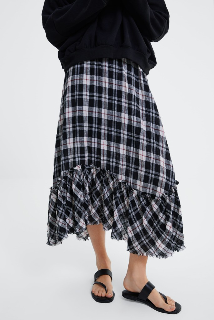 zara-check-ruffles-skirt