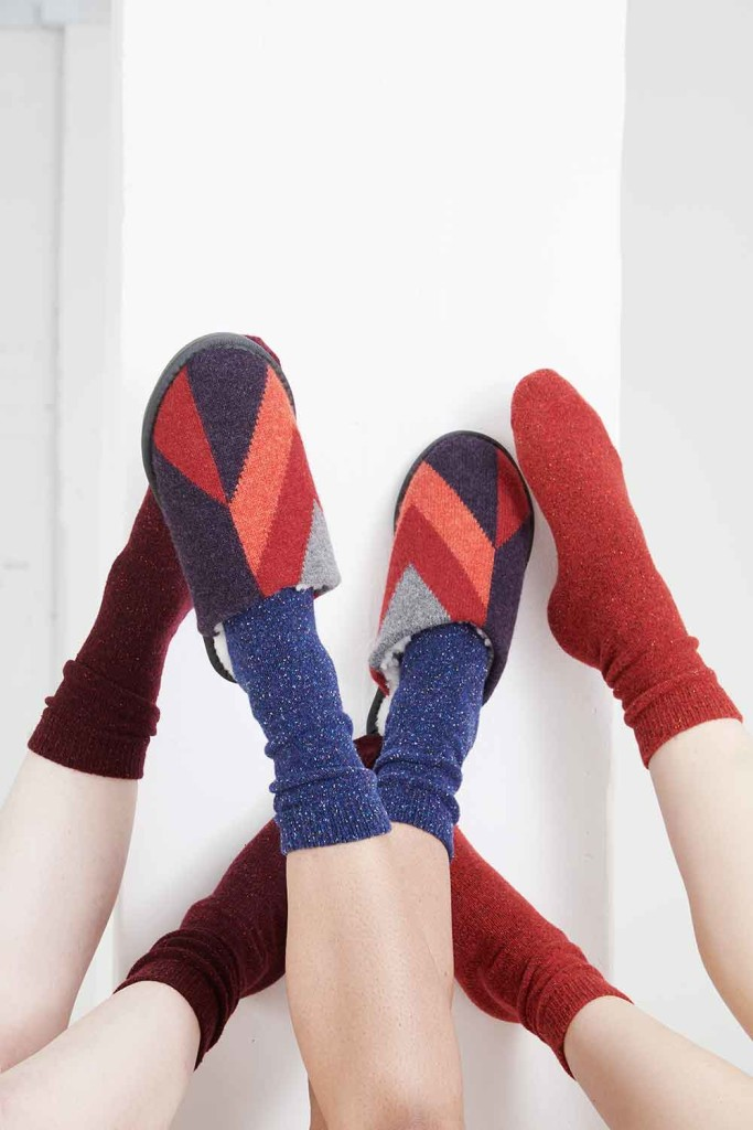 Genevieve-Sweeney-Red-Lambswool-Geometric-Slippers-cosy-socks