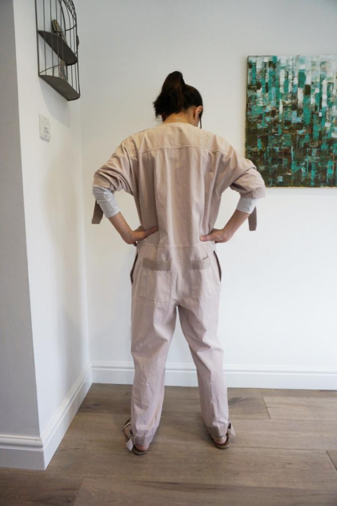 asos white herringbone jumpsuit back