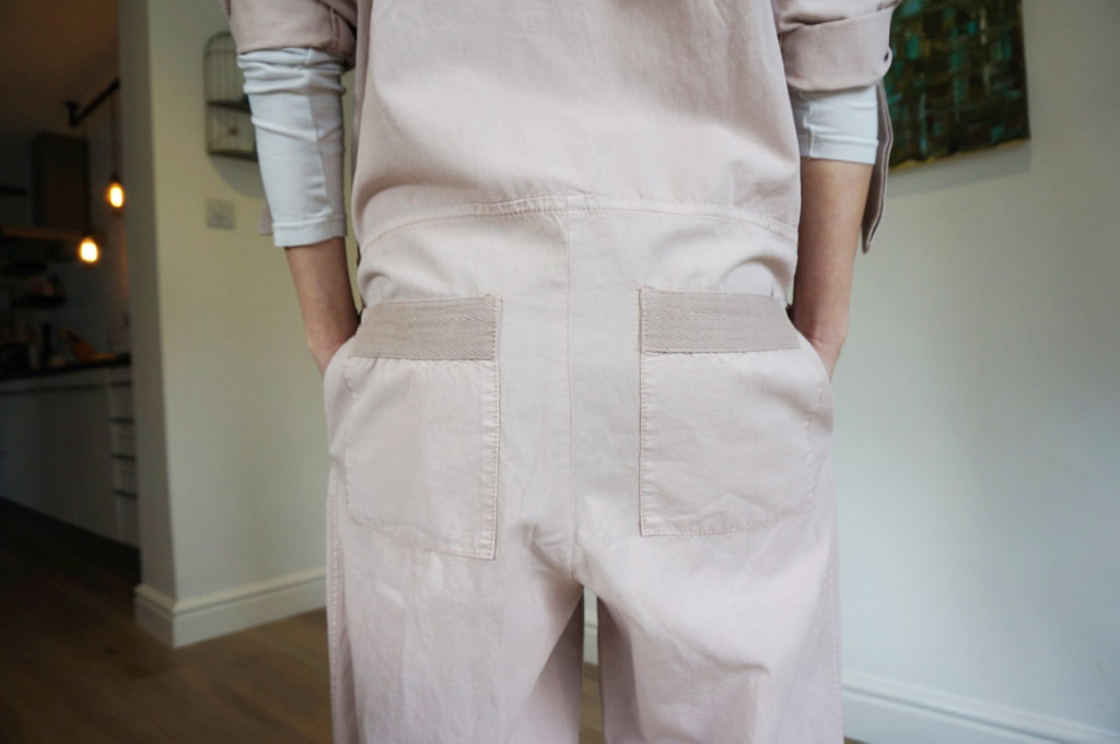 Patch back pockets with trim