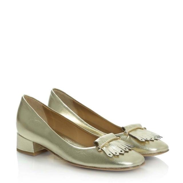 daniel footwear gold fringed pump