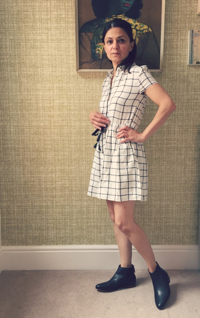 Miss Selfidge Petites Check Dress in Ivory